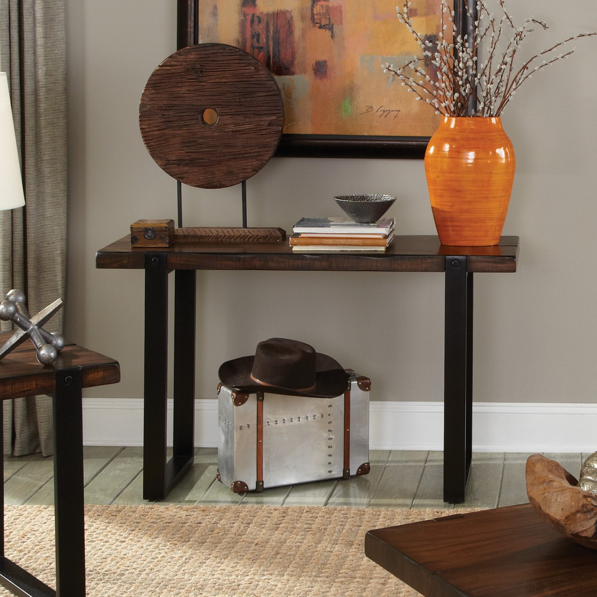 Coaster 703429 Sofa Table - Vintage Brown/black