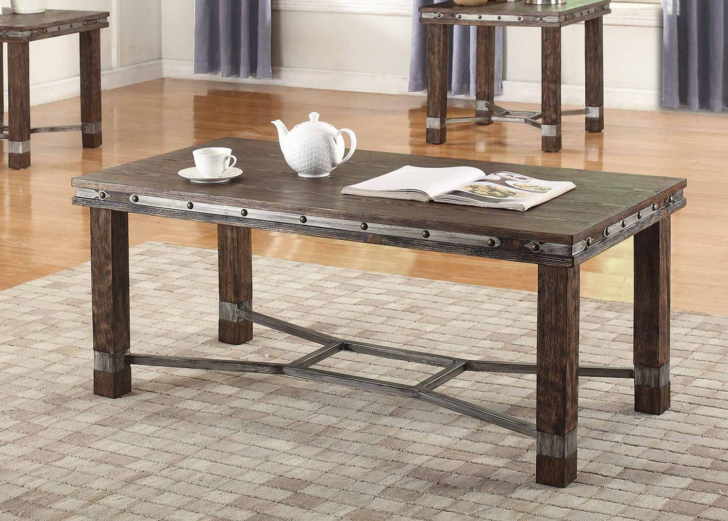Coaster 703548 Occasional Coffee Table Set Sandblasted Brown 703548 Coffee Set At