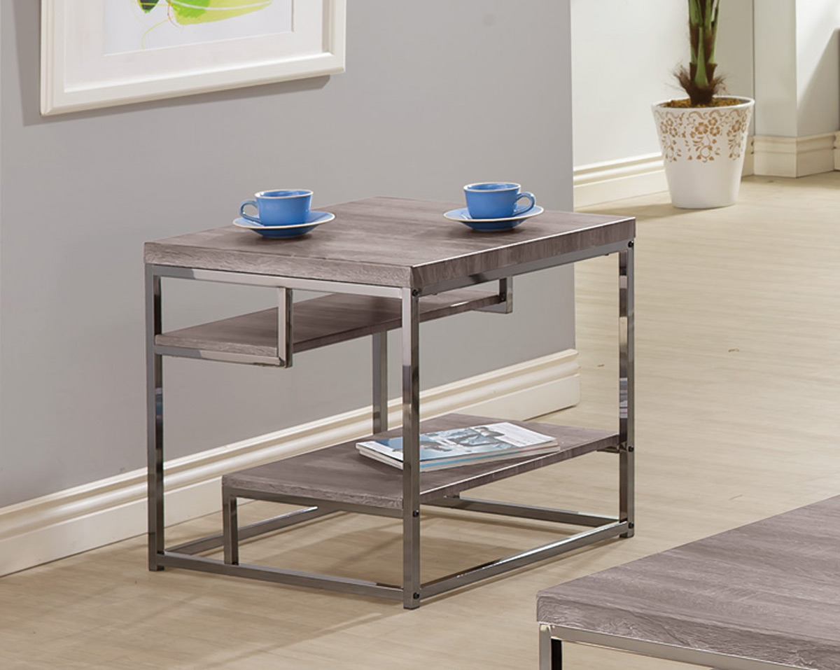 Coaster 703727 End Coffee Table - Weathered Grey/Black Nickel