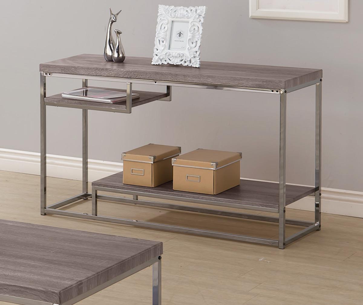 Coaster 703729 Sofa Table - Weathered Grey/Black Nickel