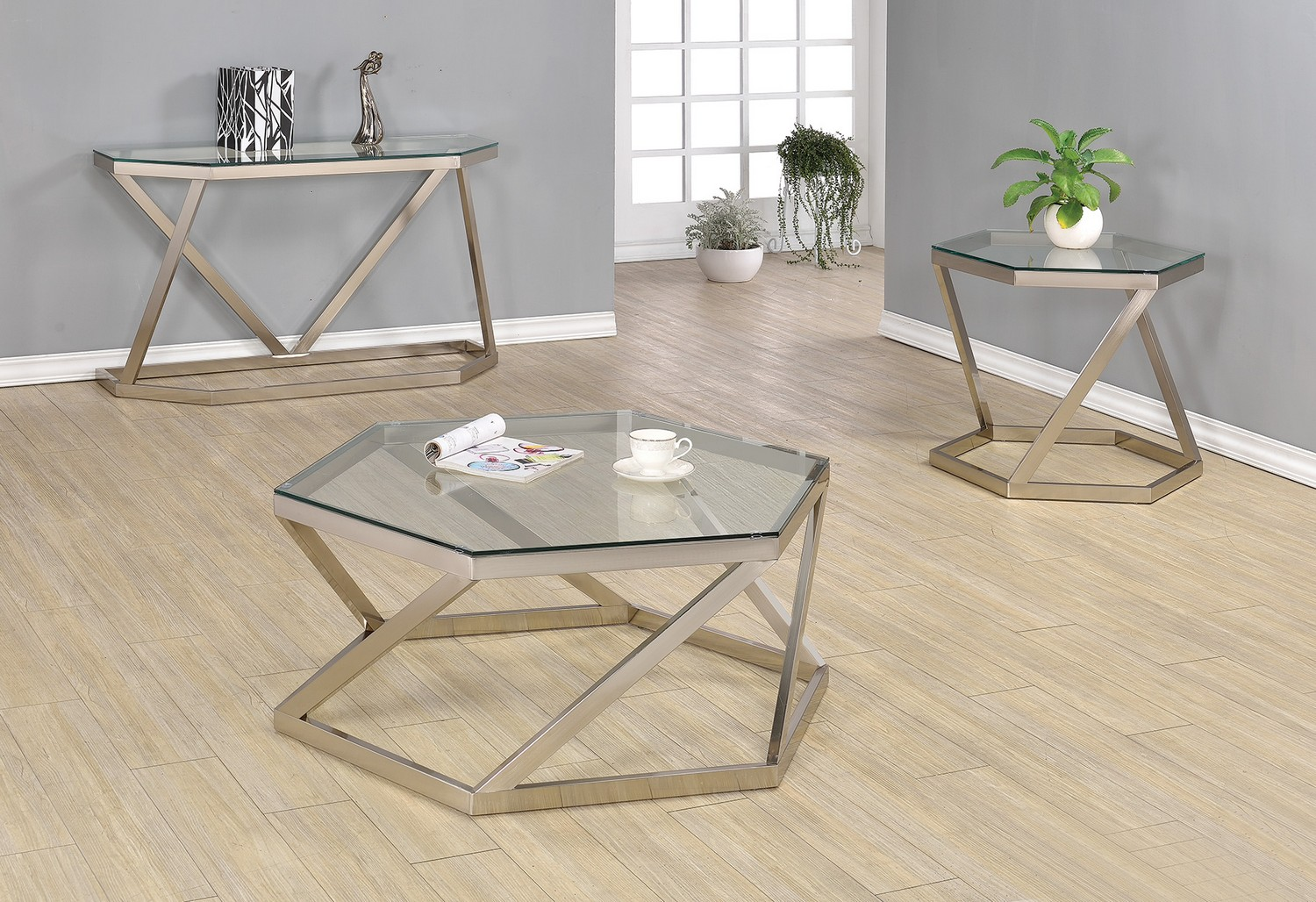 Coaster 704008 Coffee Cocktail Table Set Nickel 704008 Occ Set At