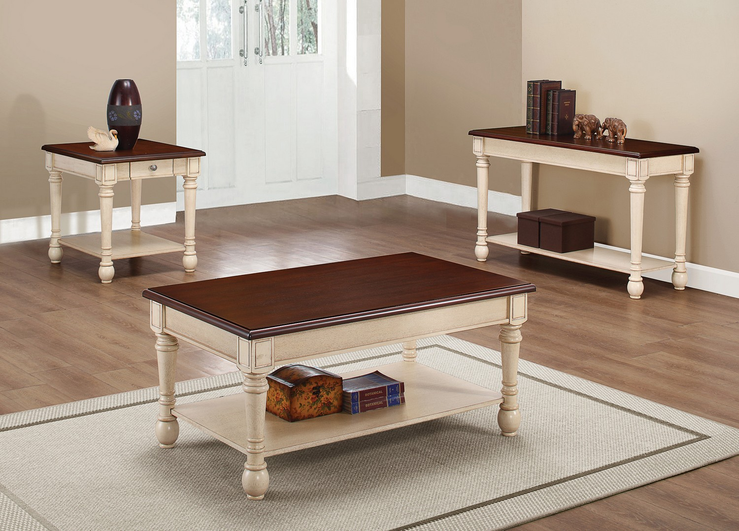 Coaster 704418 coffee cocktail table set dark brown for Antique white coffee table sets