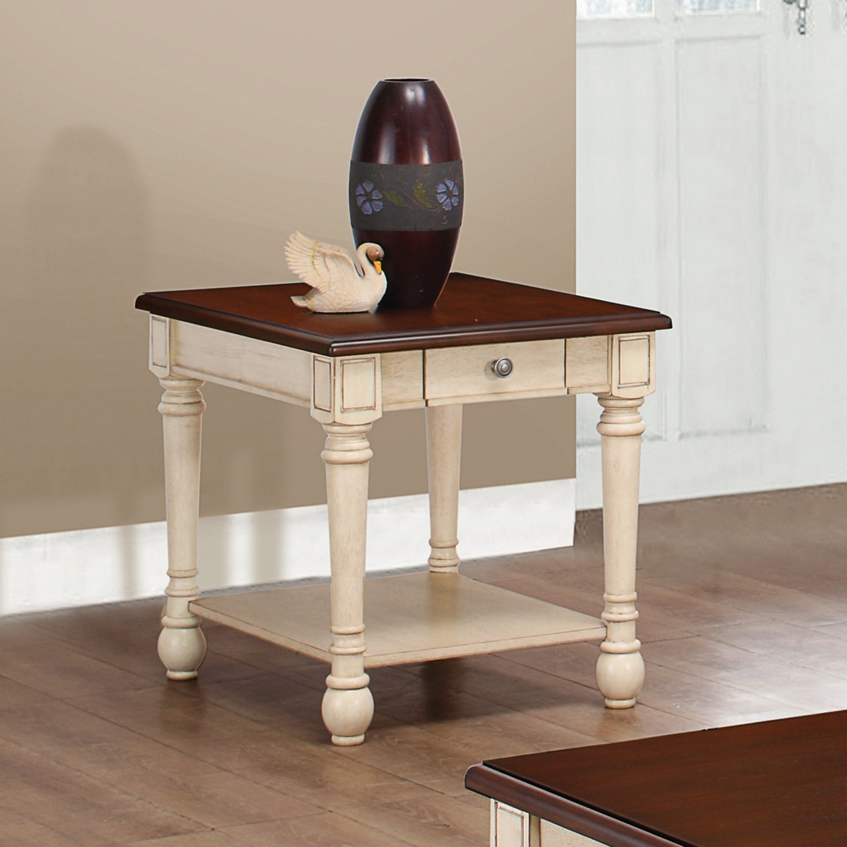 Coaster 704417 End Table - Dark Brown/ Antique White