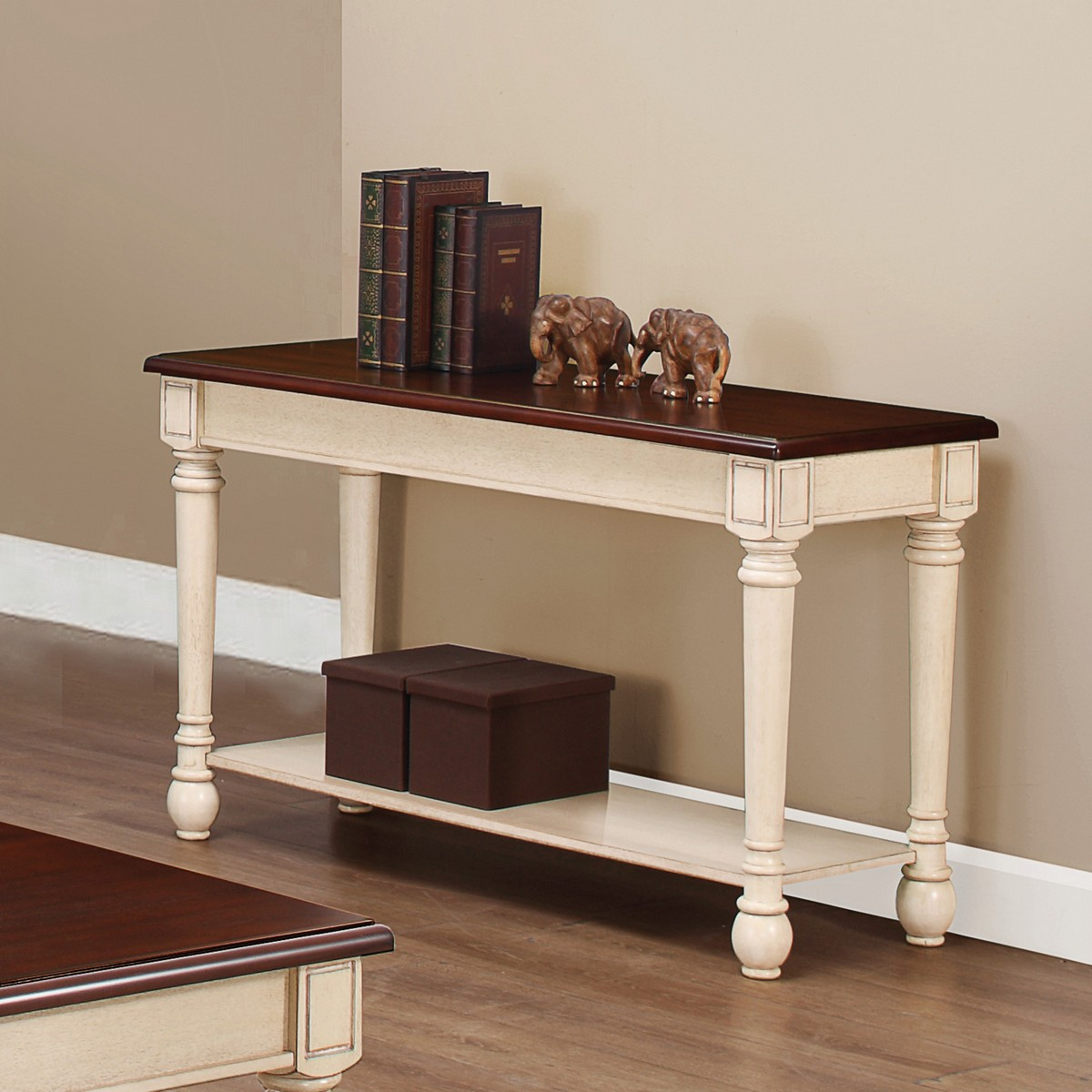 Coaster 704419 sofa table dark brown antique white for Sofa table antique