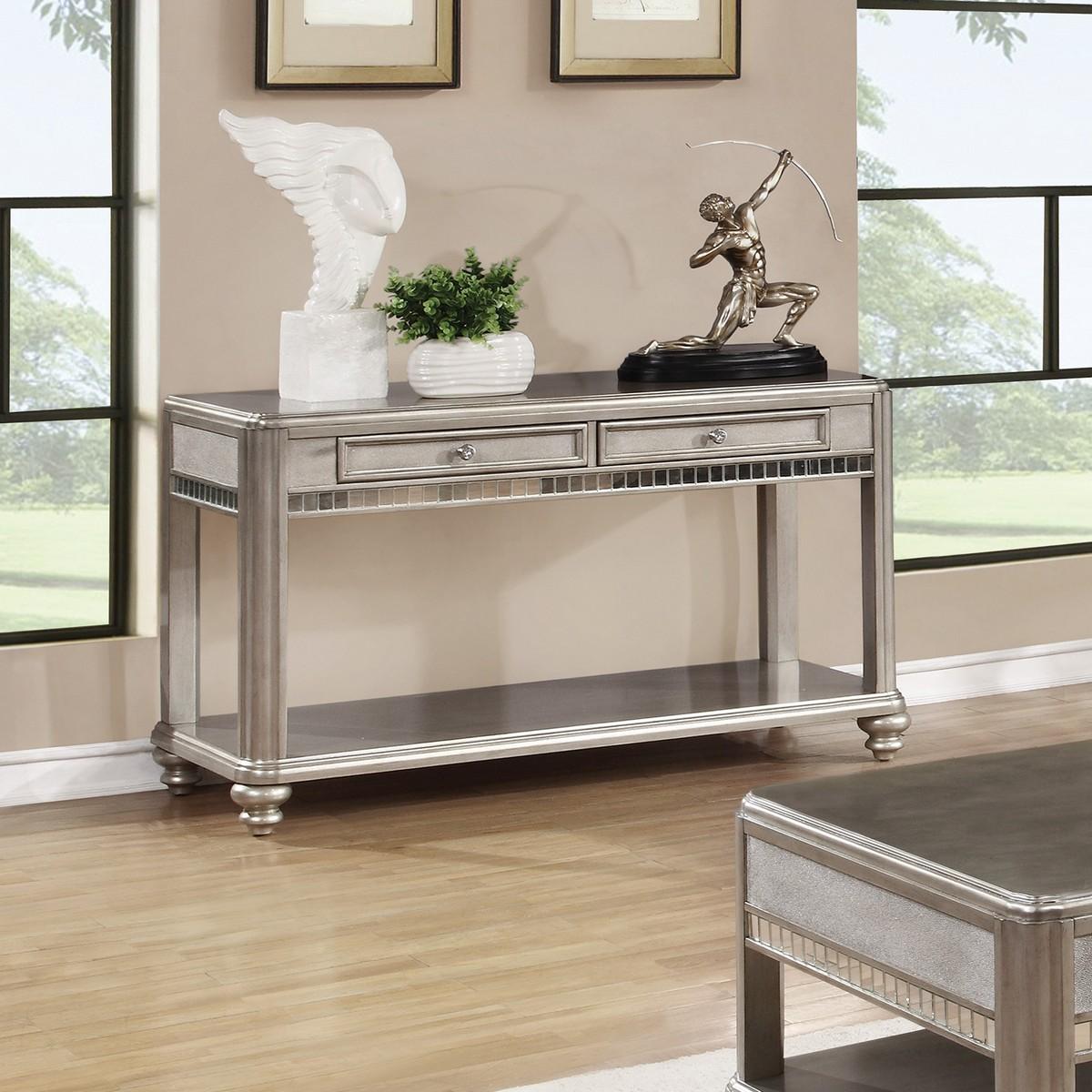 Coaster 704619 Sofa Table Metallic Platinum