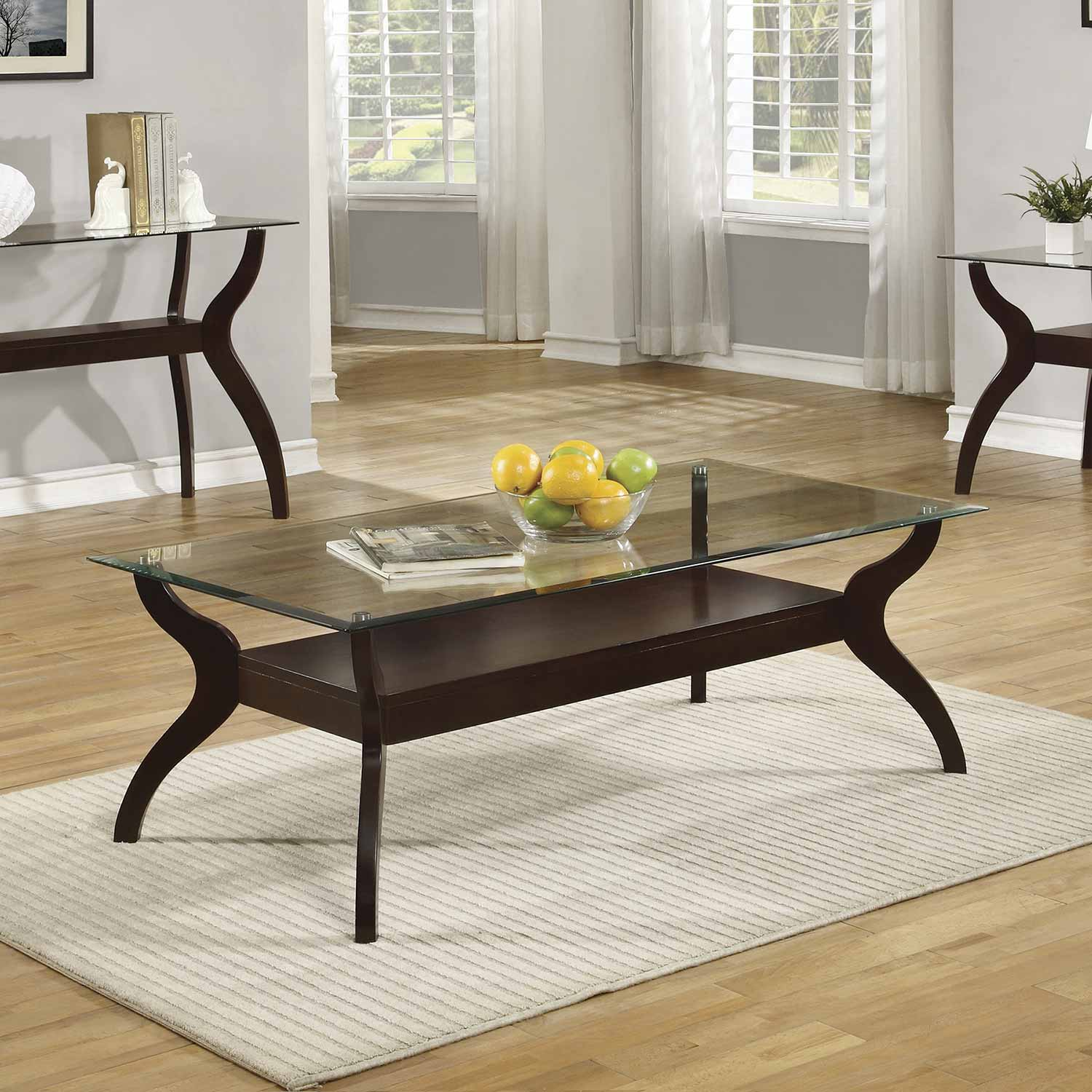 Coaster 704628 coffee table cappuccino tempered glass for Tempered glass coffee table