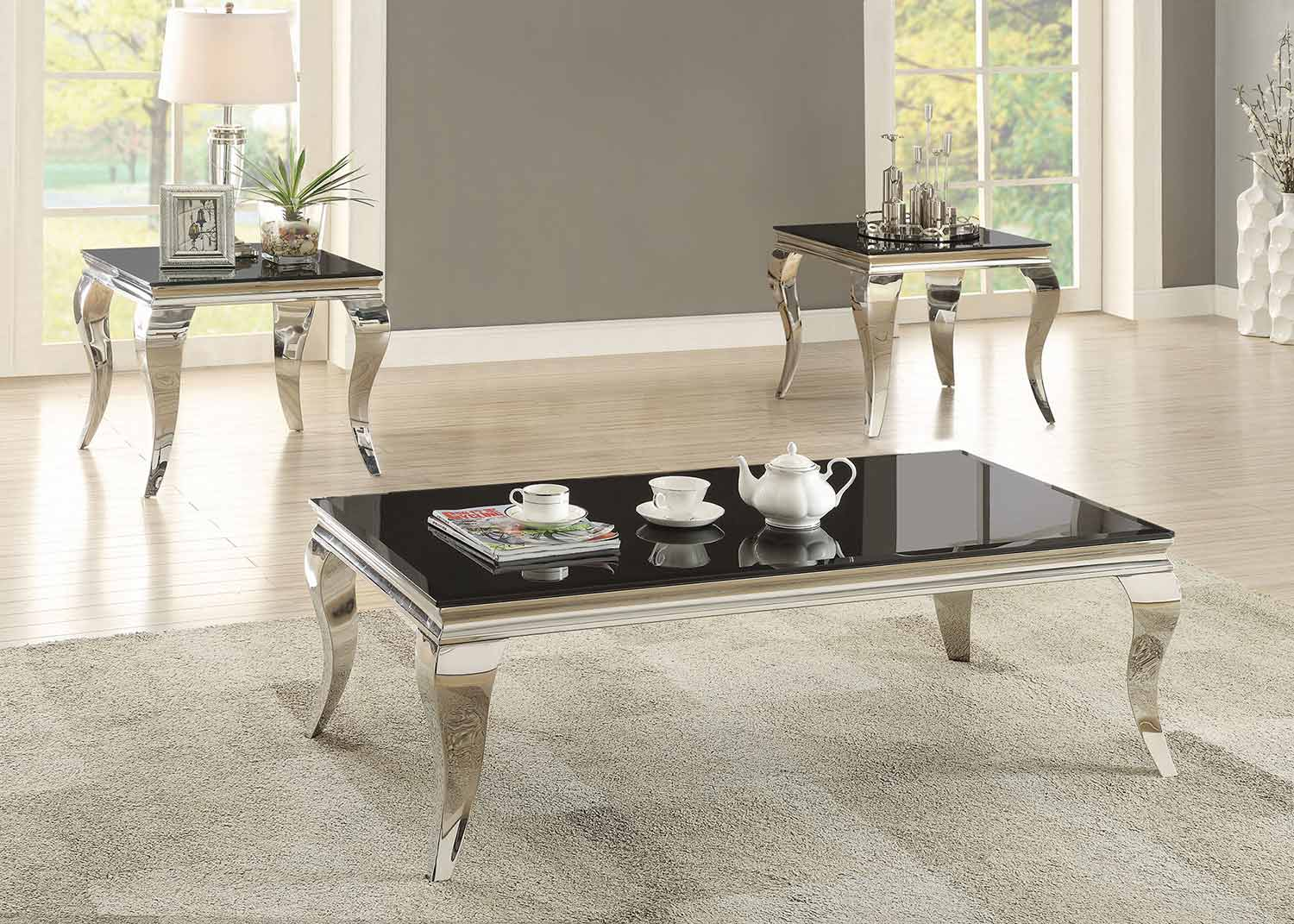 coaster 705018 occasional coffee table set chrome 705018 coffee set at. Black Bedroom Furniture Sets. Home Design Ideas