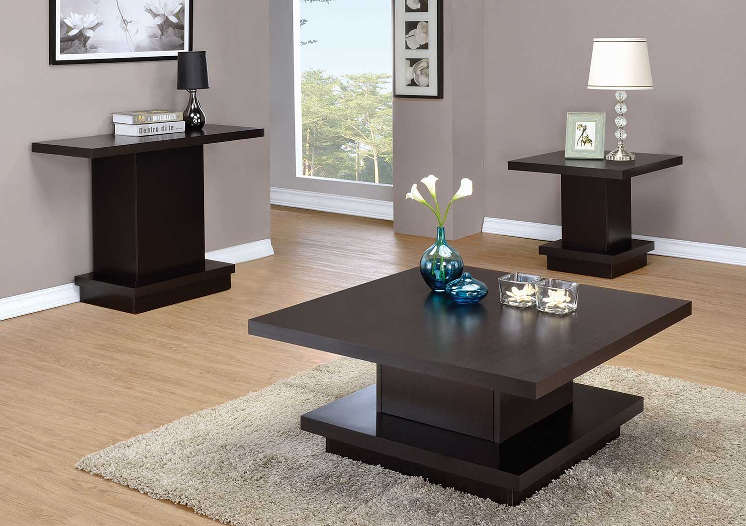 Coaster 705168 Occasional Coffee Table Set Cappuccino