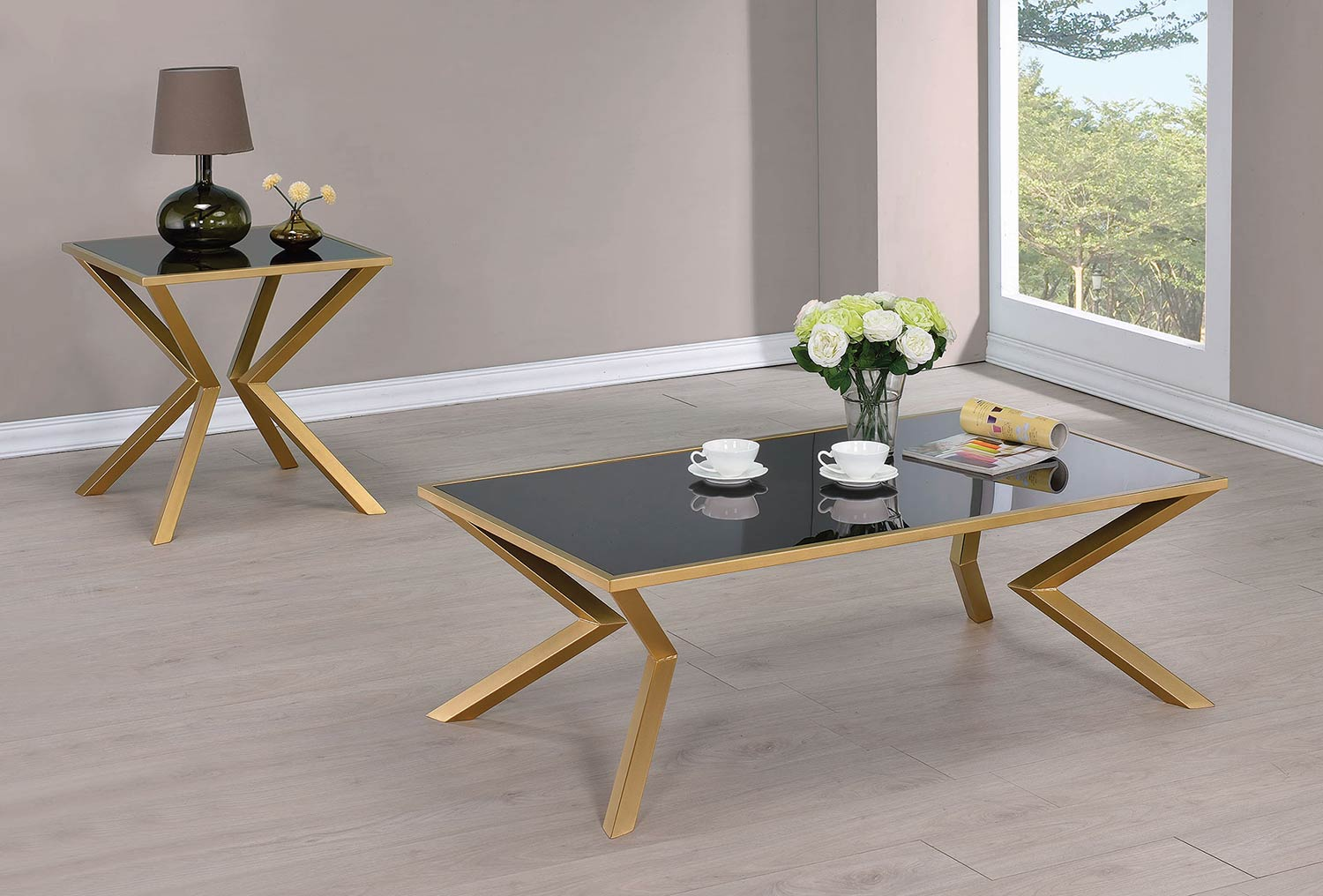 Coaster 705188 Occasional/Coffee Table Set - Black Glass/Brushed ...