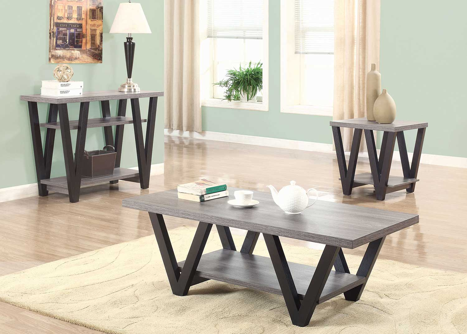 Coaster 705398 Occasional/Coffee Table Set - Antique Grey/Black