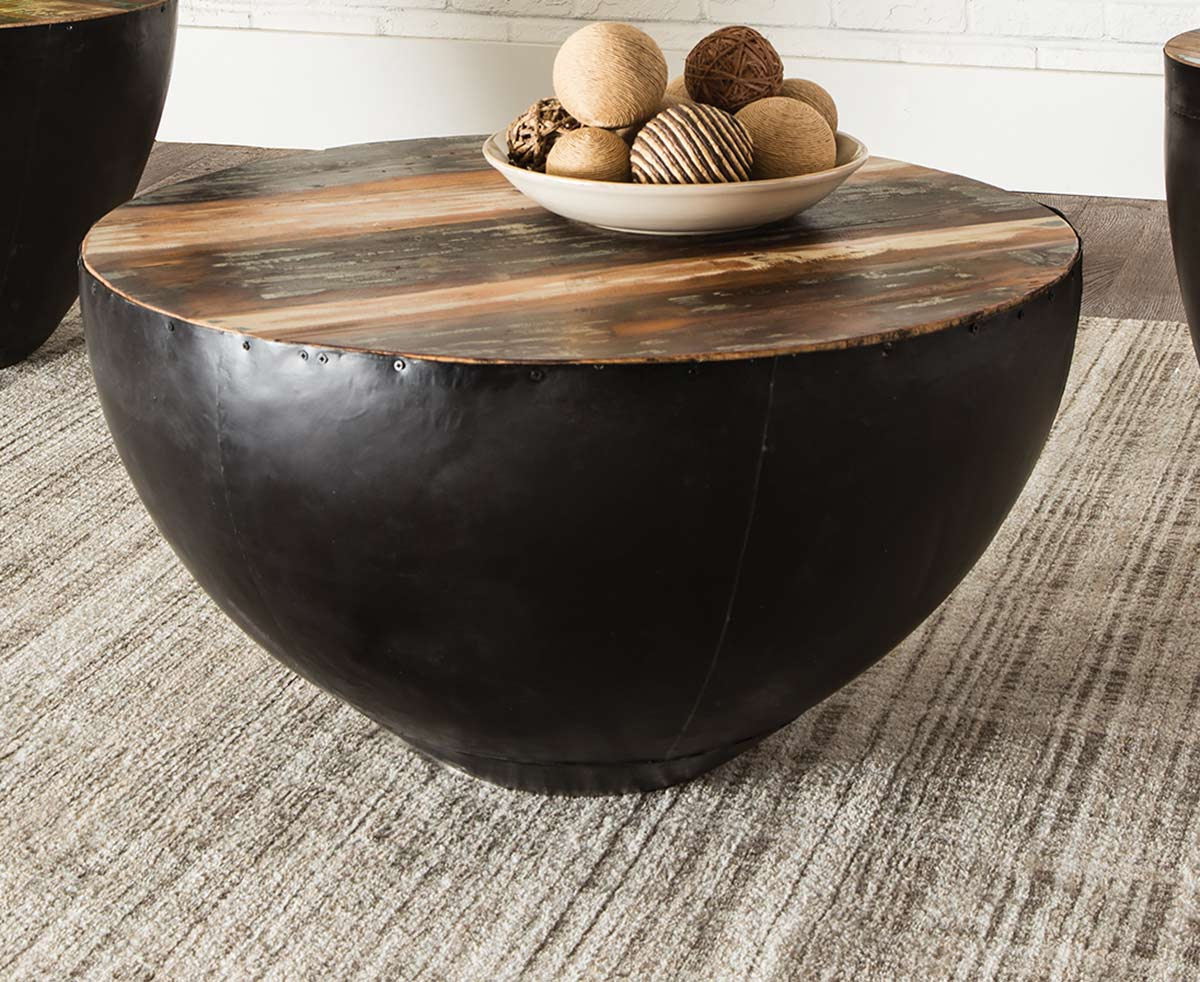 Coaster 705538 Coffee Table - Natural Reclaimed Wood/Black Iron