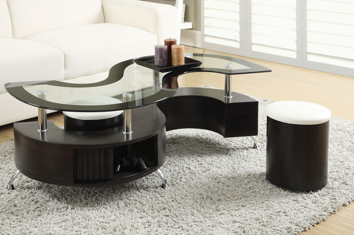 Coaster 720218 Coffee Table and Stool Set - Cappuccino/Chrome