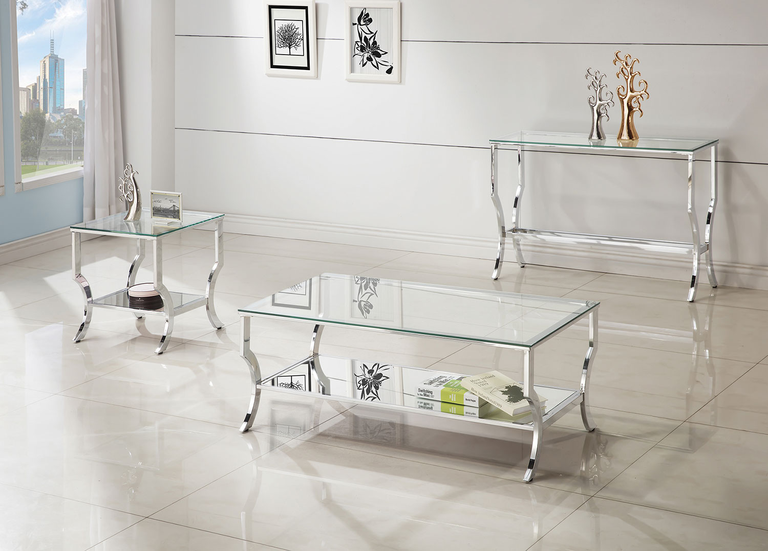 Coaster 720338 Coffee Table Set - Chrome / Tempered Glass