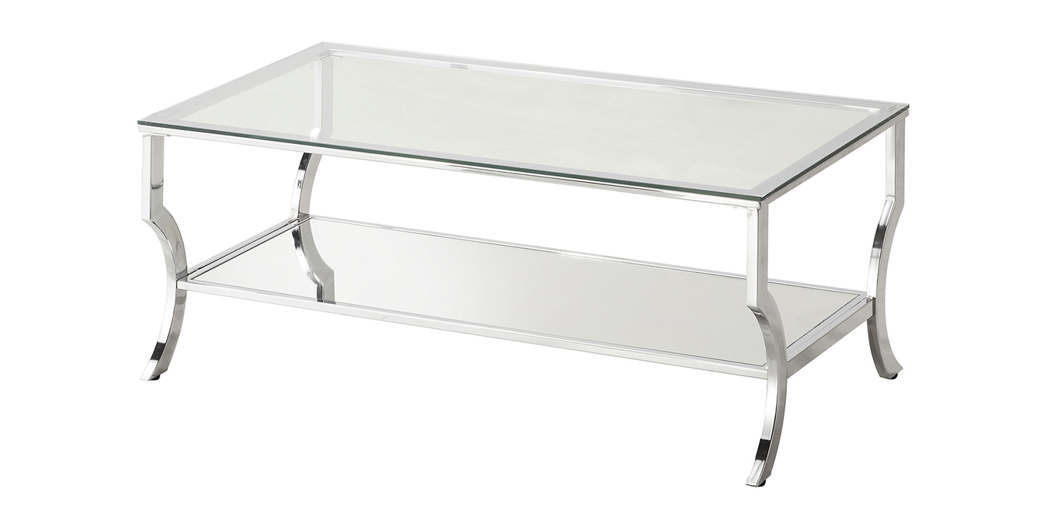 Coaster 720338 Coffee Table - Chrome / Tempered Glass