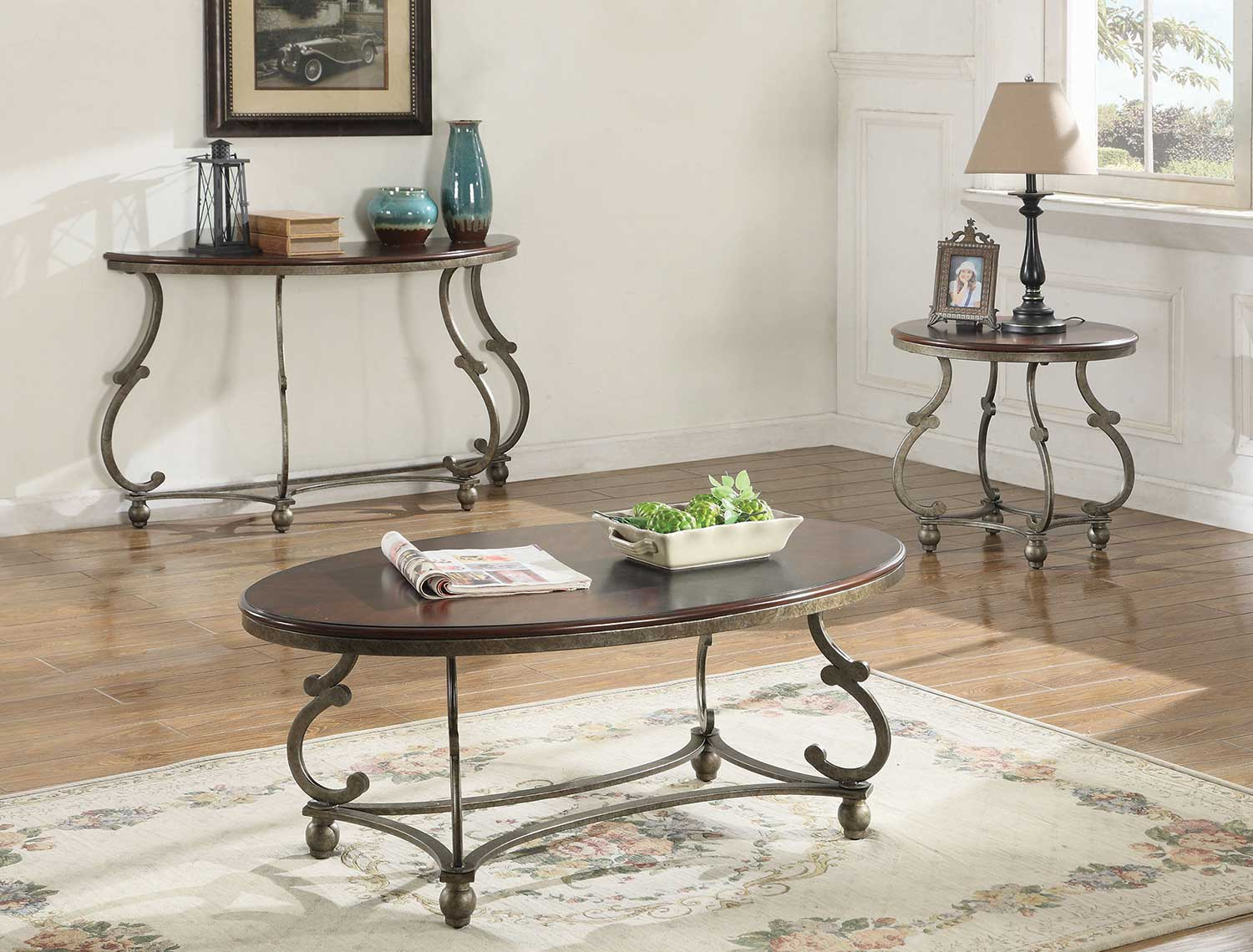 Coaster 720548 Occasional/Coffee Table Set - Cherry Brown/ Antique Pewter & Coaster 720548 Occasional/Coffee Table Set - Cherry Brown/ Antique ...