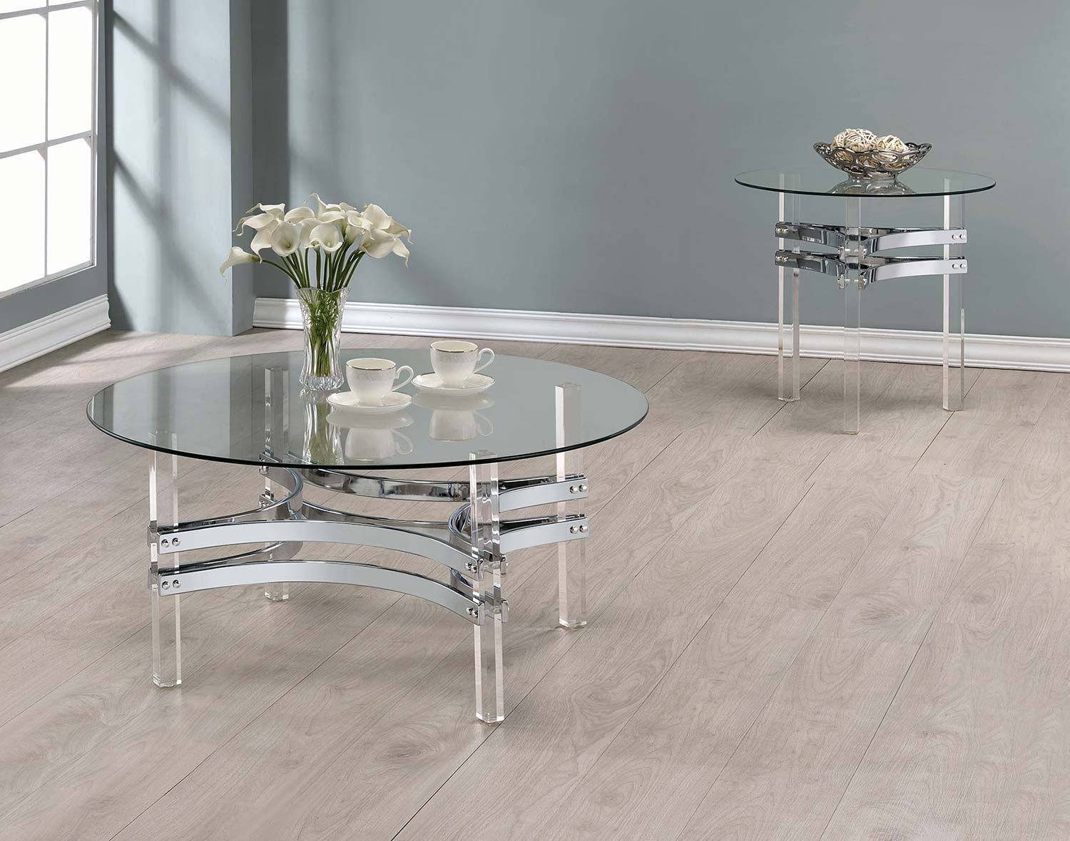 Coaster 720708 Occasional/Coffee Table Set   Chrome/Clear Acrylic