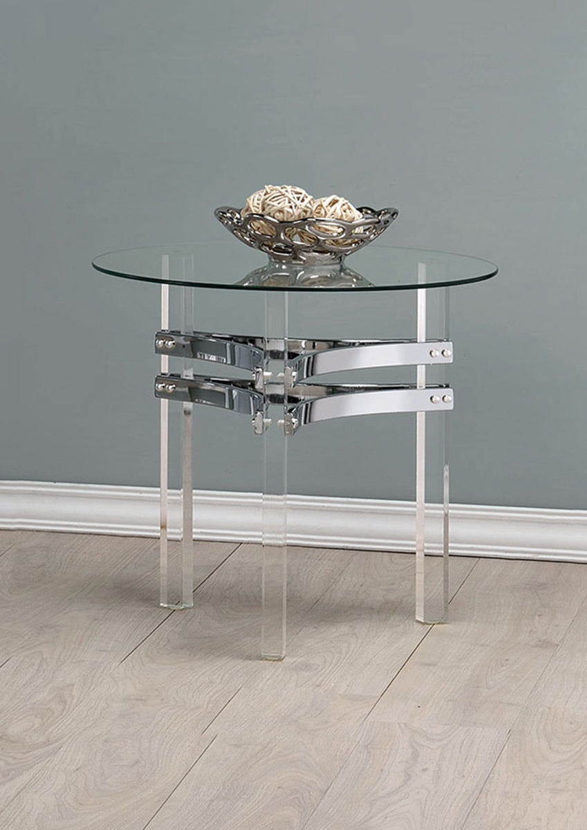 Coaster 720708 Occasional Coffee Table Set Chrome Clear