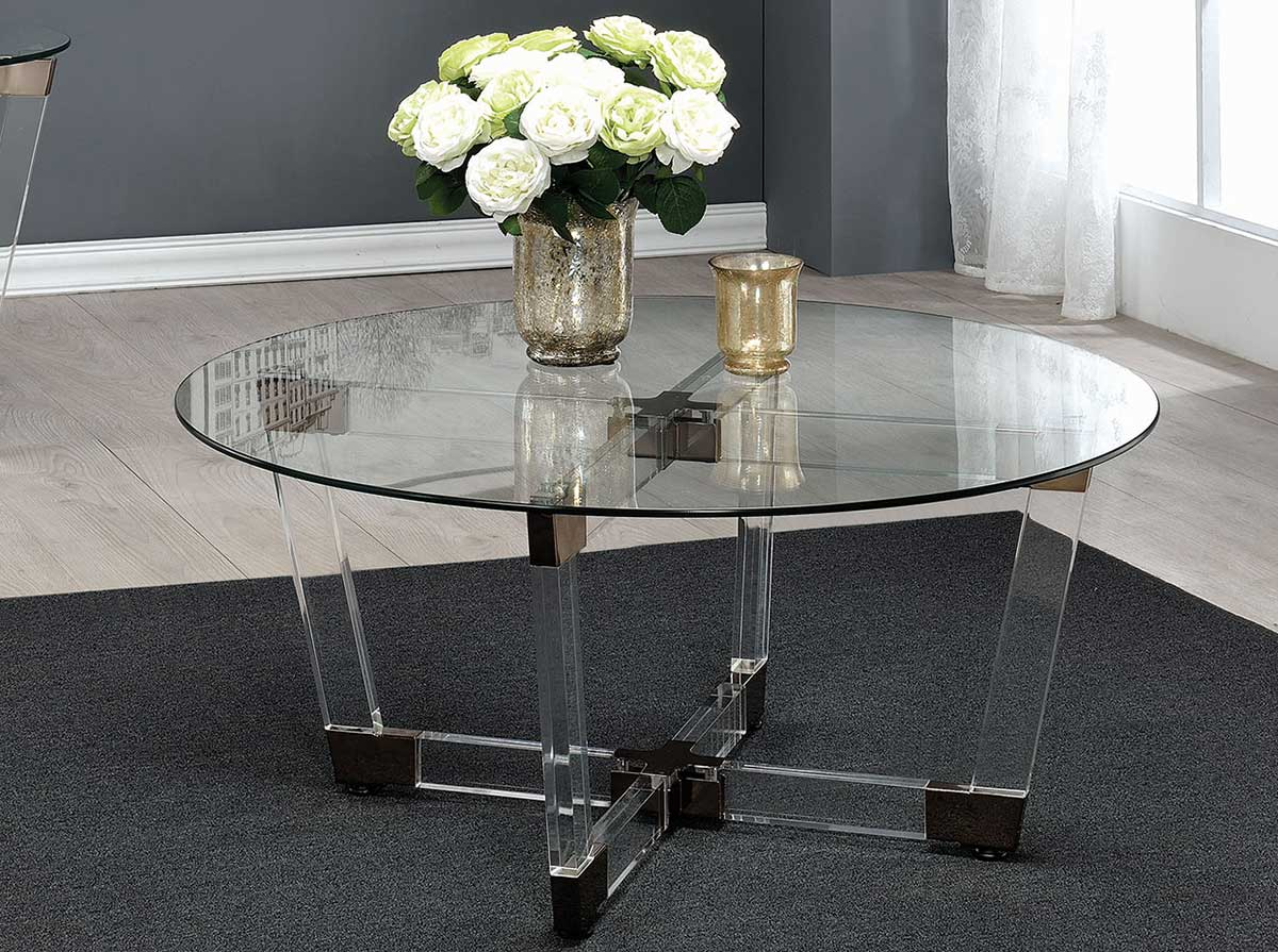 Coaster 720718 Coffee Table   Chrome/Clear Acrylic