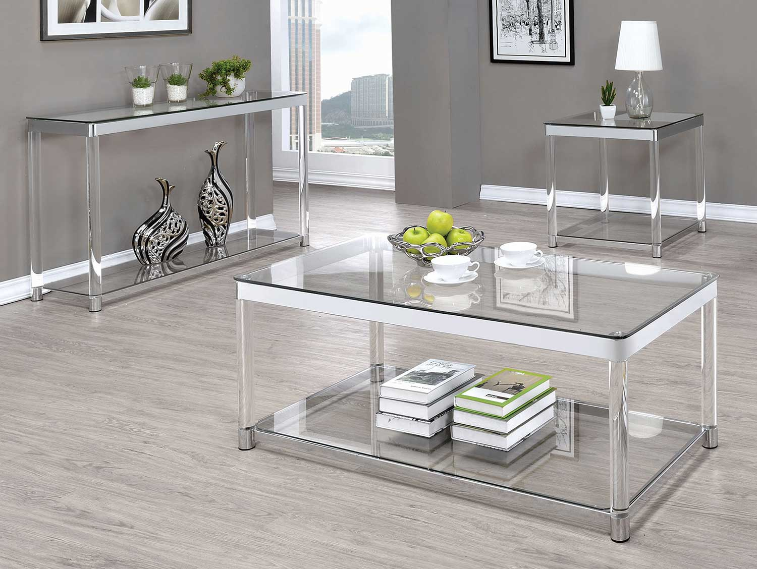 Coaster 720748 Occasional/Coffee Table Set - Chrome/Clear Acrylic