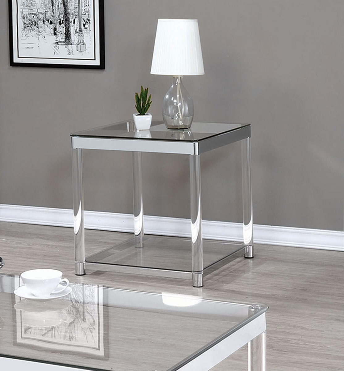 Coaster 720747 End Table - Chrome/Clear Acrylic