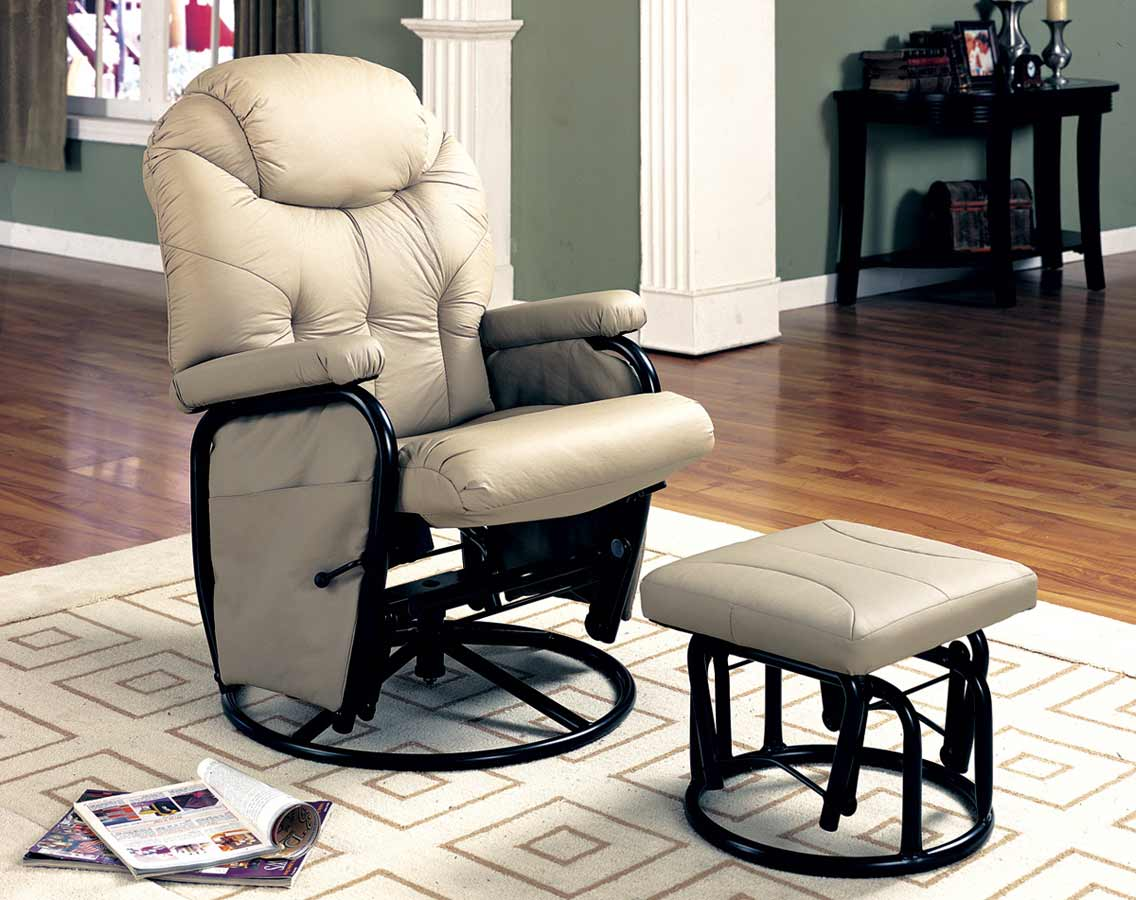 Coaster 7292 Glider Rocker With Ottoman 7292 At