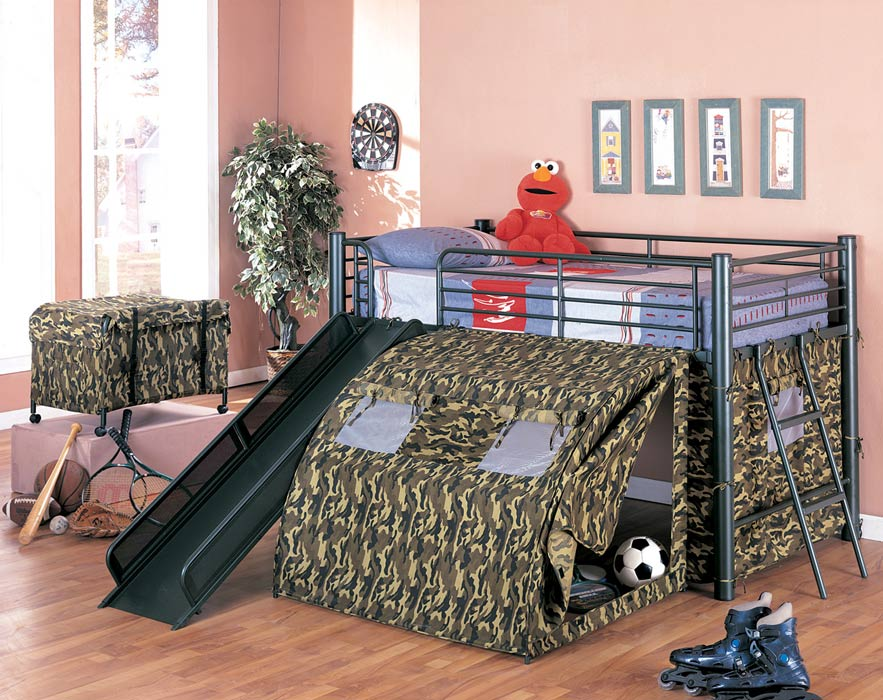 Coaster Oates GI Loft Bed with Slide and Tent