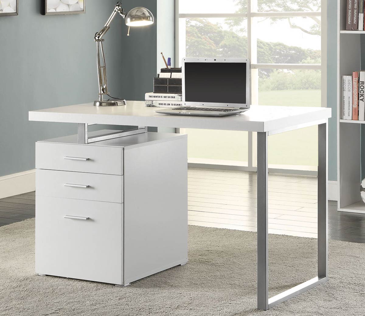 Coaster Hillard Writing Desk - White/Silver