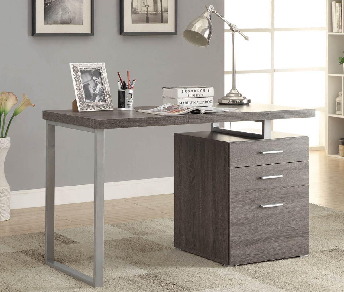 Coaster Hillard Writing Desk - Weathered Grey/Silver