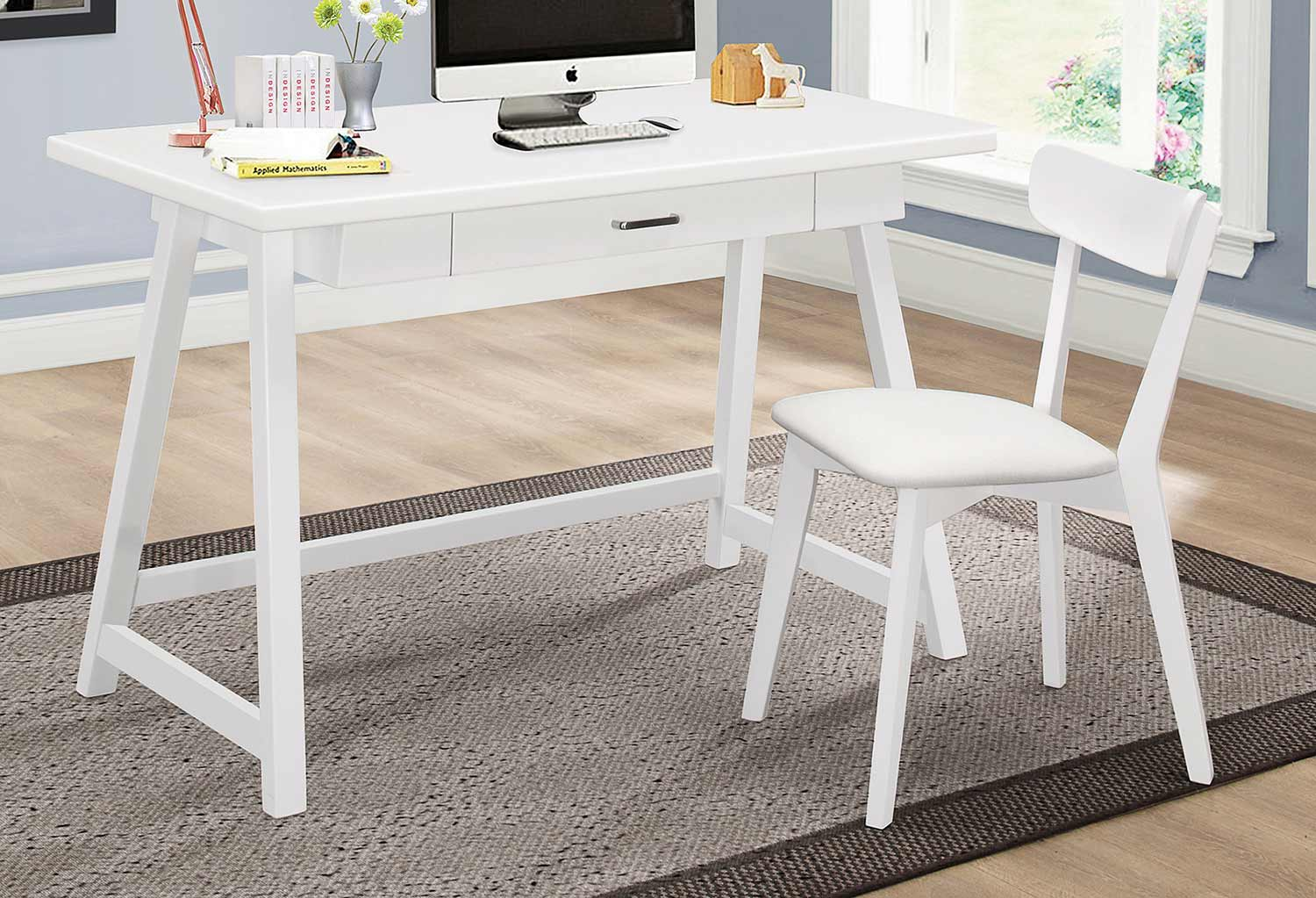 Coaster 801108 2-PC Desk Set - White