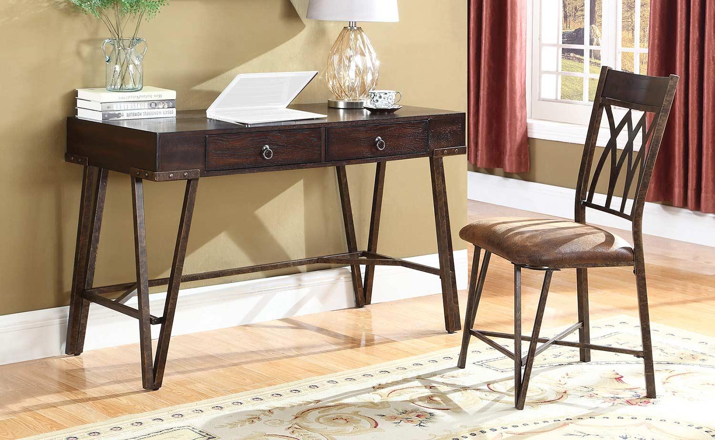 Coaster 801126 2-PC Desk Set - Brushed Pecan
