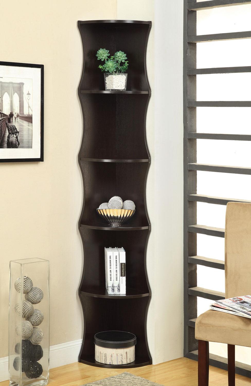 Coaster 801182 Corner Bookcase - Cappuccino