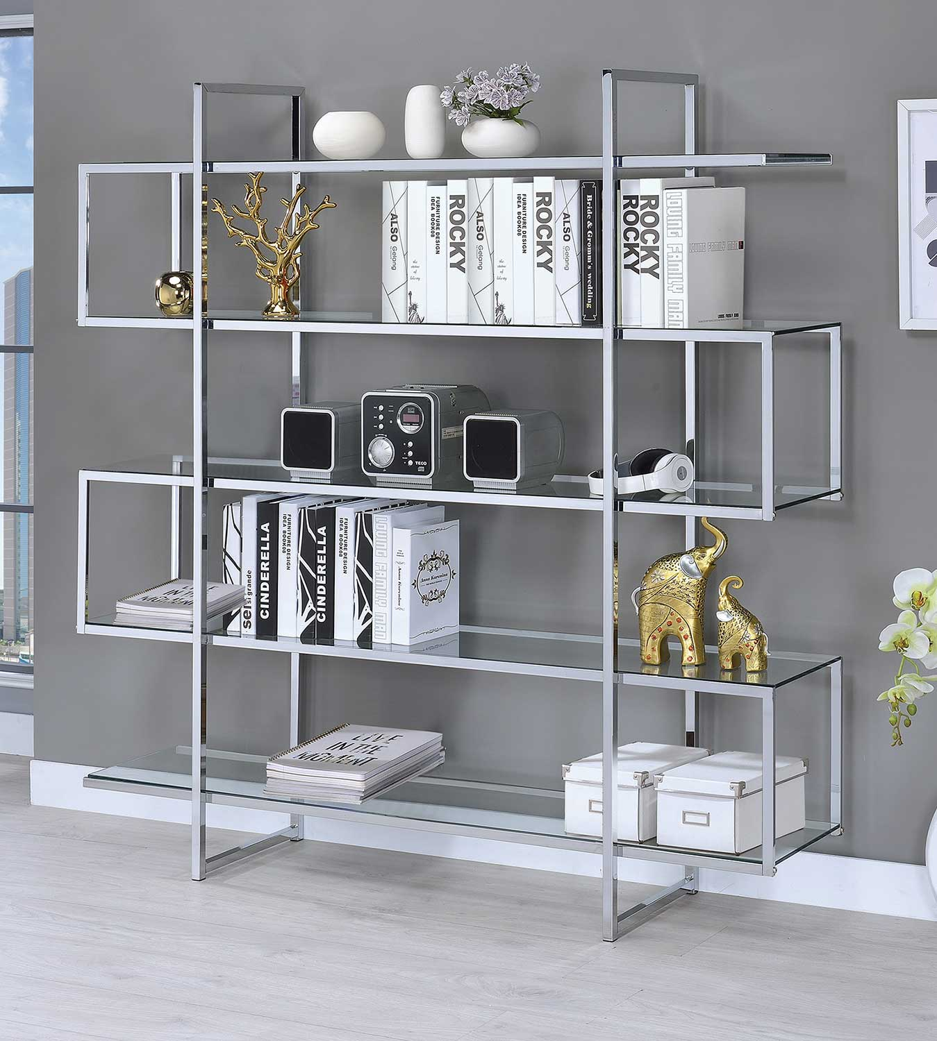 Coaster 801304 Bookcase - Chrome
