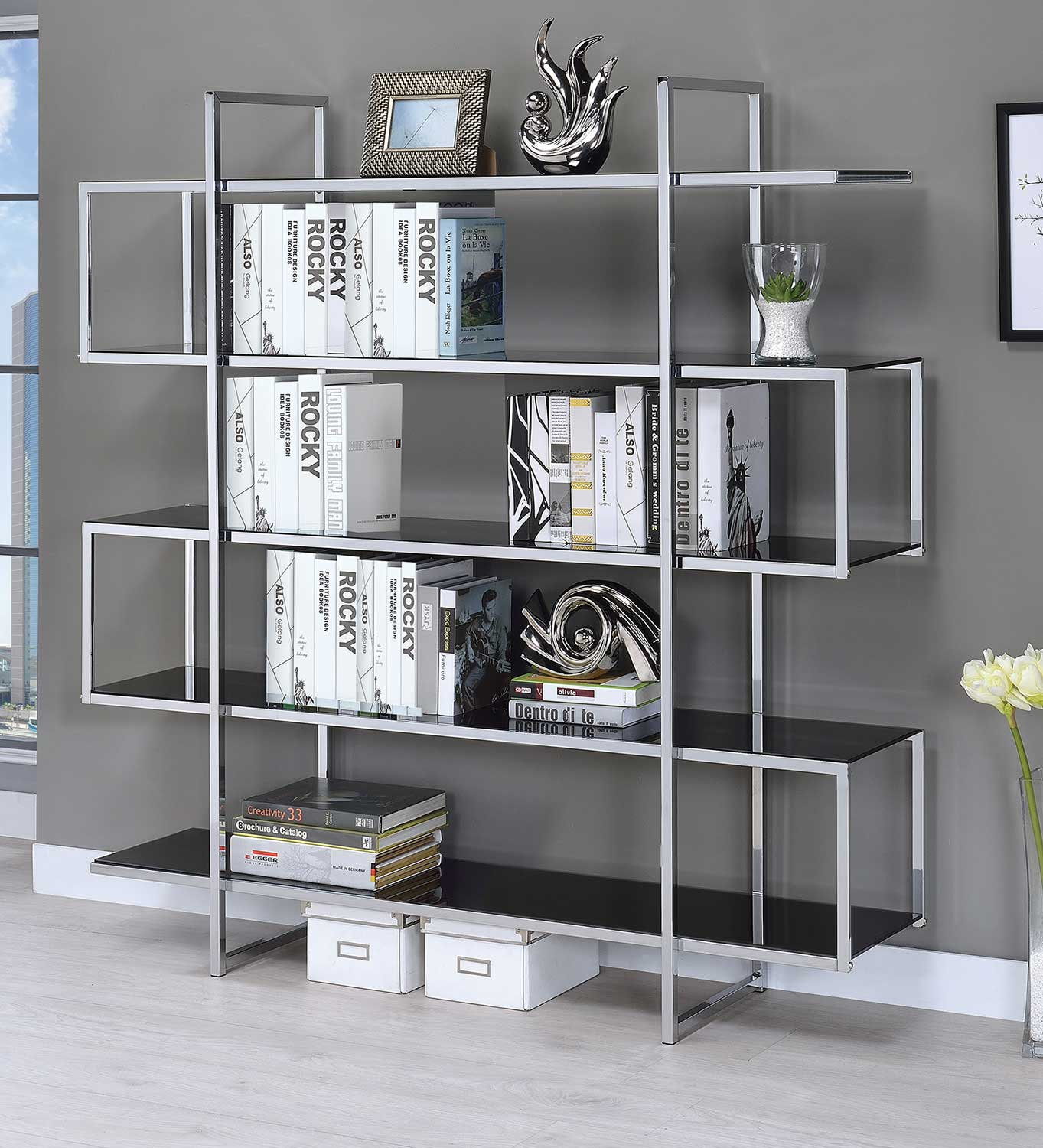Coaster 801306 Bookcase - Chrome