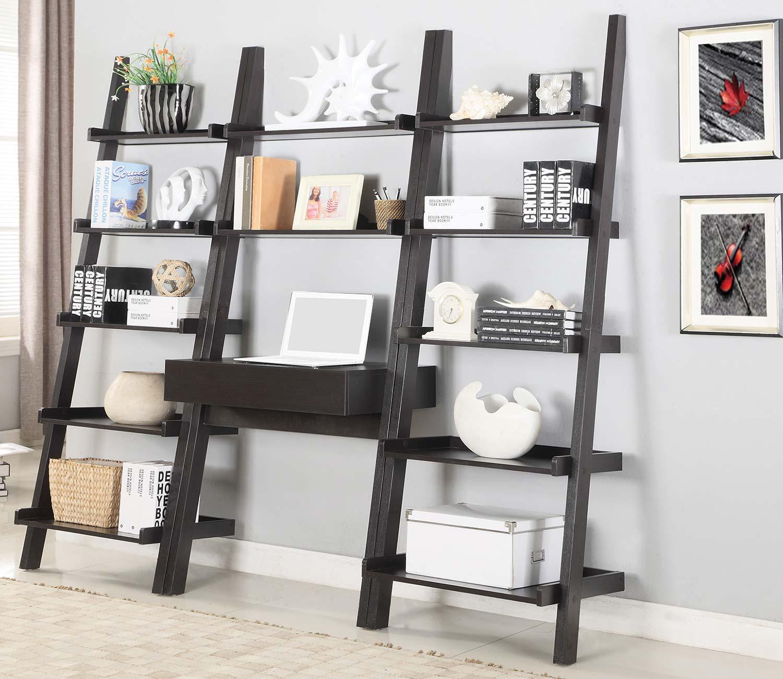 Coaster Colella Ladder Desk and Bookcase Set - Cappuccino