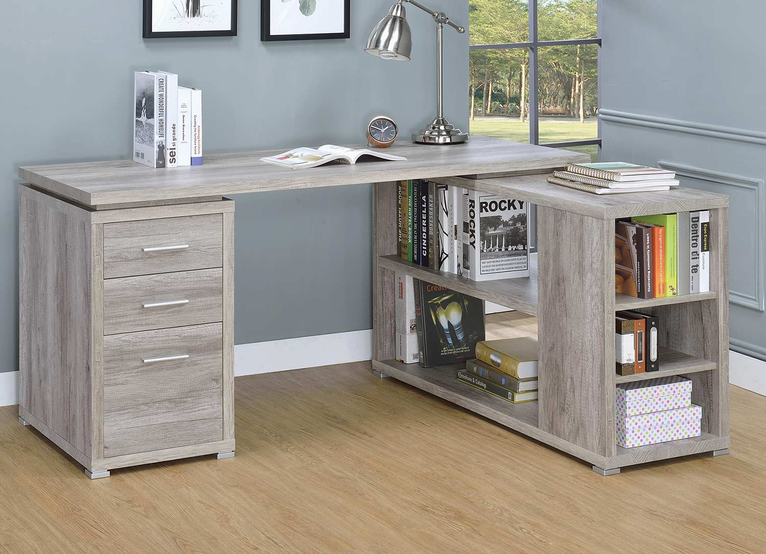 Coaster Yvette Office Desk - Grey Driftwood