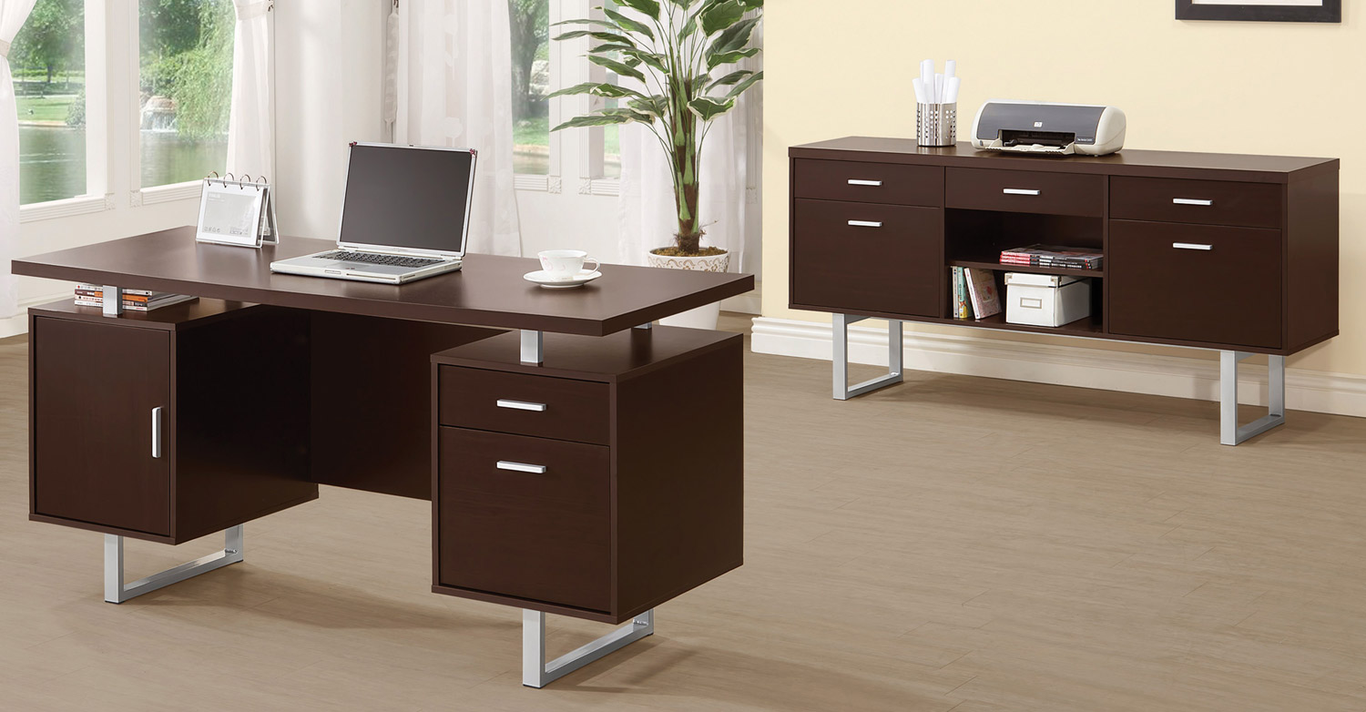 Coaster Glavan Home Office Set - Cappuccino/Silver