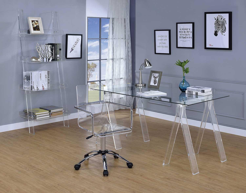 Beau Coaster Amaturo Office Desk Set   Clear/Chrome