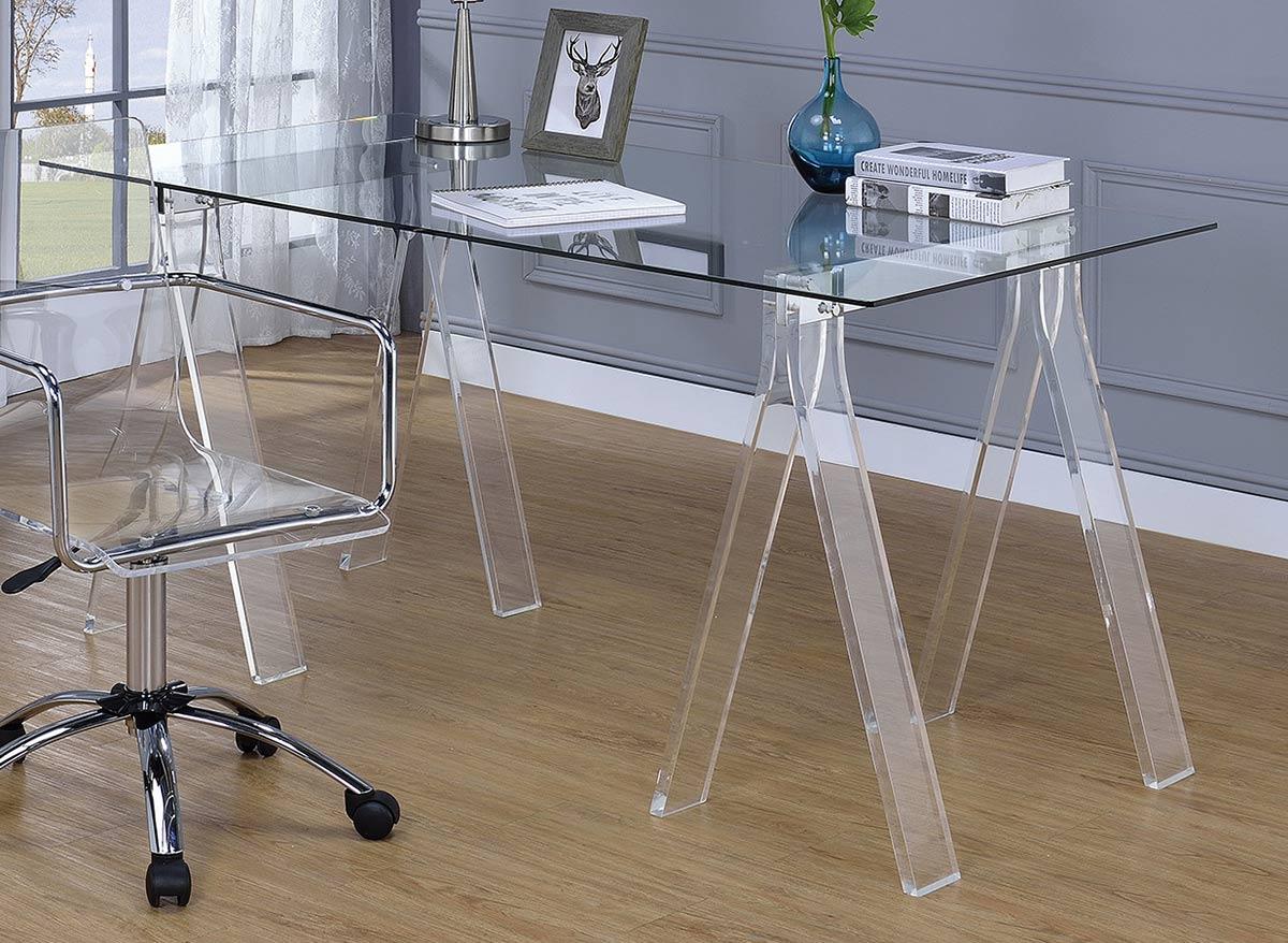 Coaster Amaturo Writing Desk - Clear/Chrome