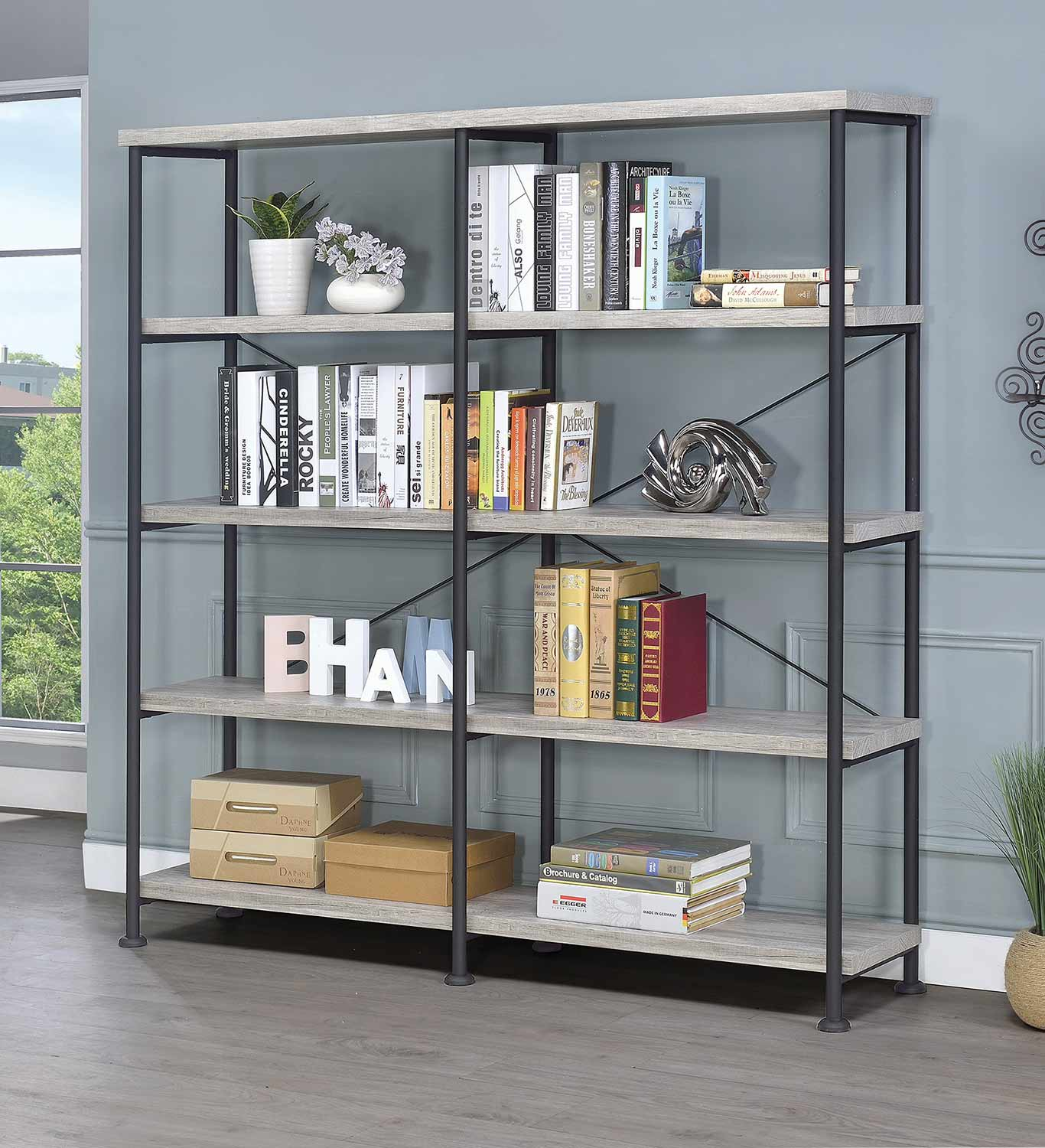 Coaster 801544 Bookcase - Grey Driftwood