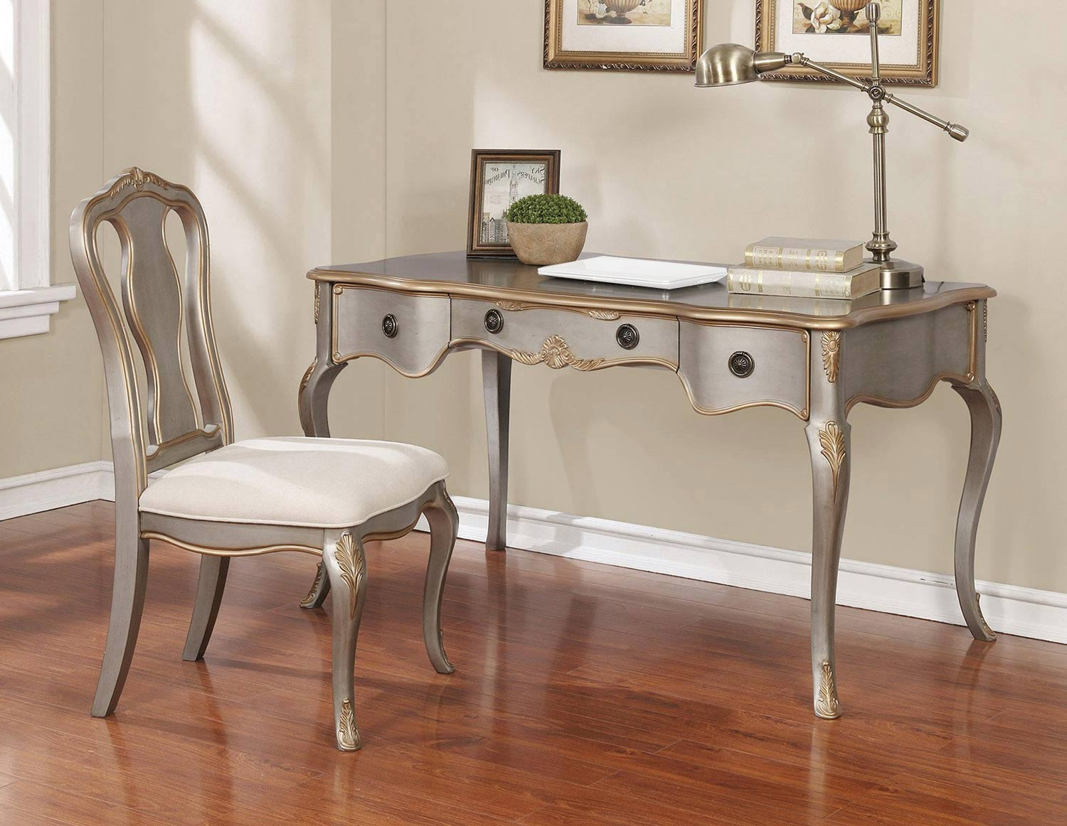 Coaster 801681 2-PC Desk Set - Gold Brushed Silver