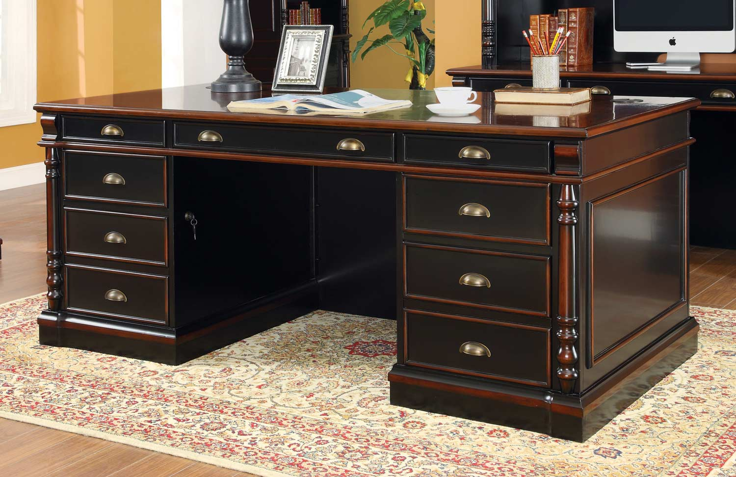 Coaster Ravenel Desk - Black/Warm Amber