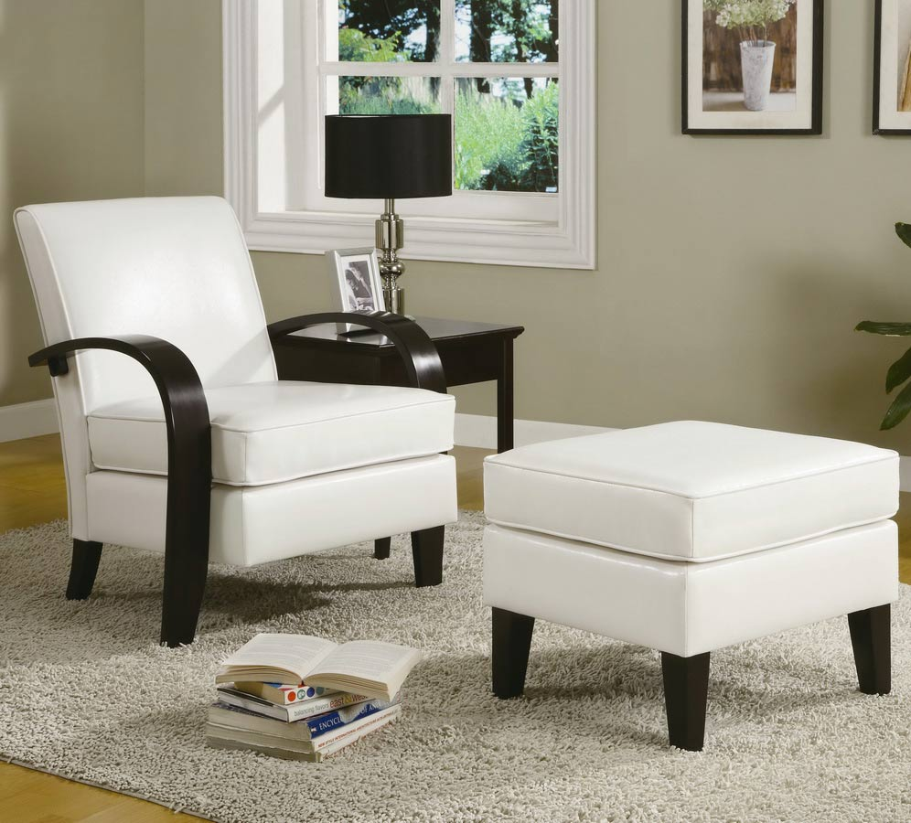 coaster 900243 accent chair and ottoman white 900243