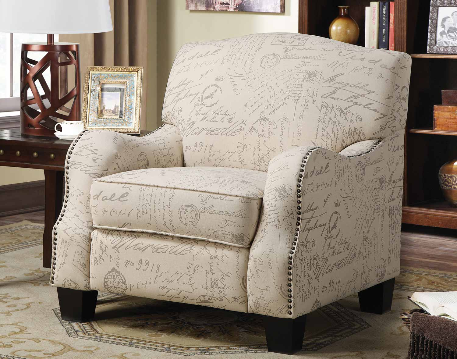 Coaster 900560 Accent Chair - Cream with Grey Print