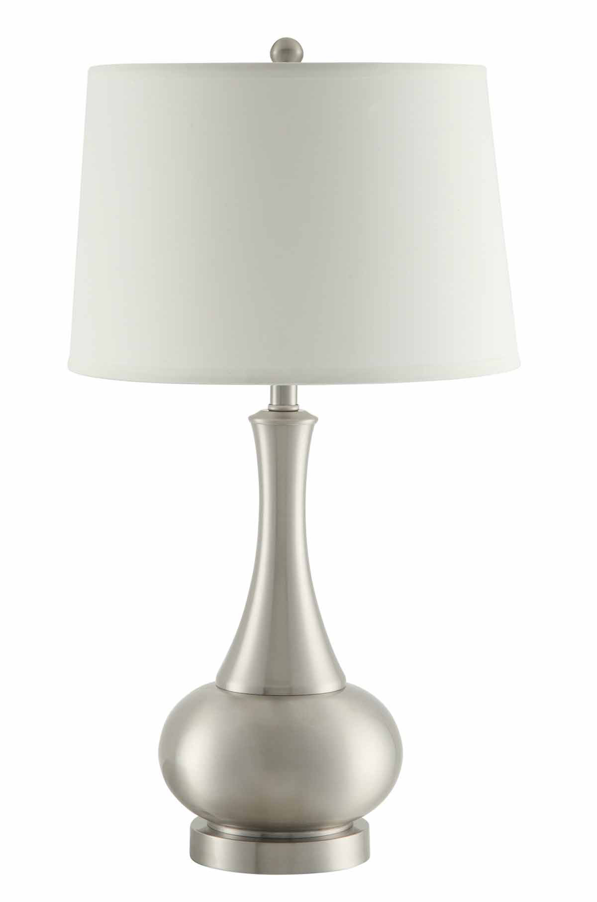 Coaster 901545 Table Lamp - White/Stain Nickel