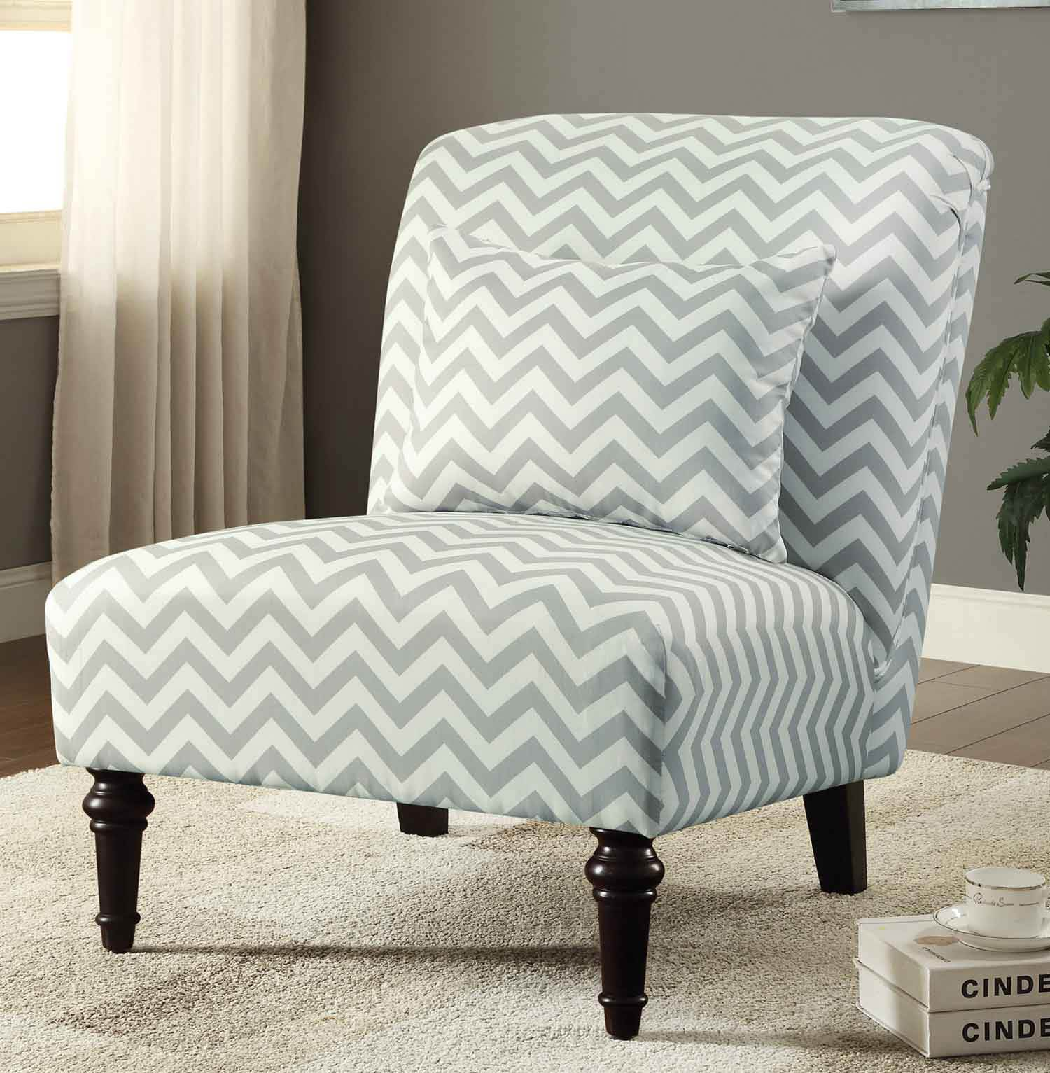 902018 Accent Chair - White/Grey Chevron