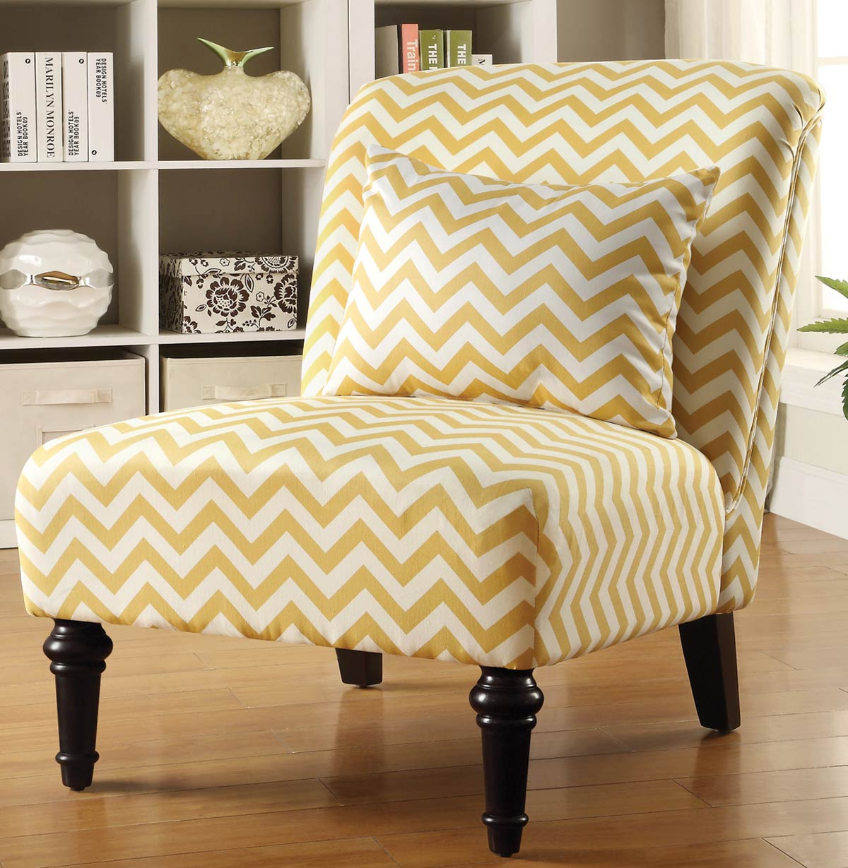 Coaster 902019 Accent Chair - White/Yellow Chevron