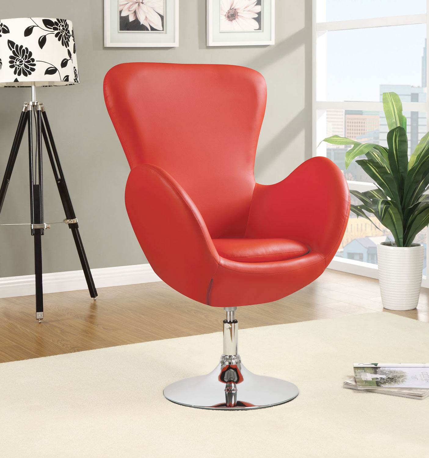 Coaster 902101 Swivel Chair - Red - Chrome