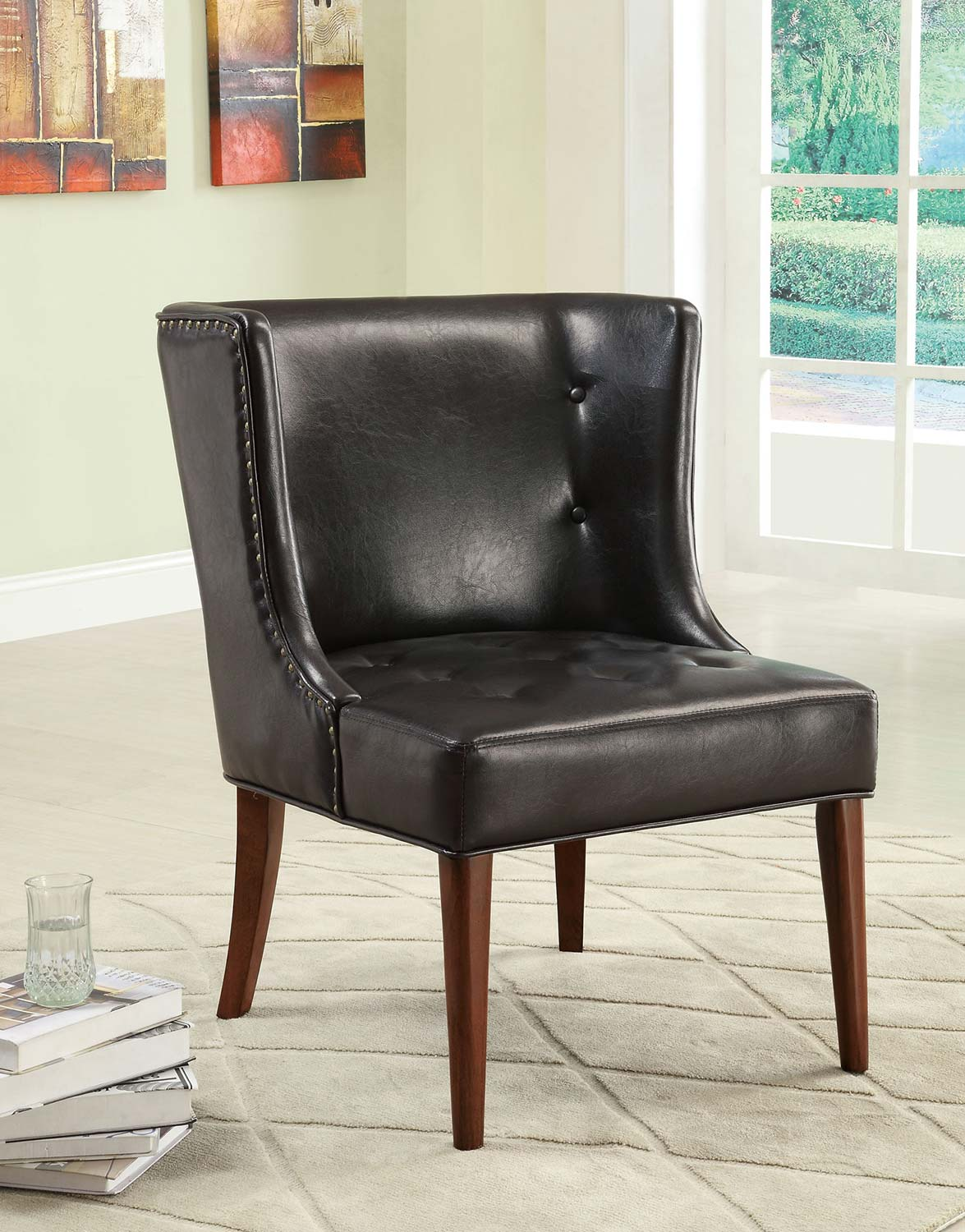 Coaster 902102 Accent Chair - Black - Cherry