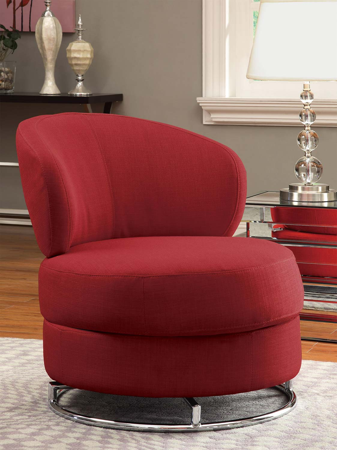 Coaster 902104 Swivel Chair - Red - Chrome