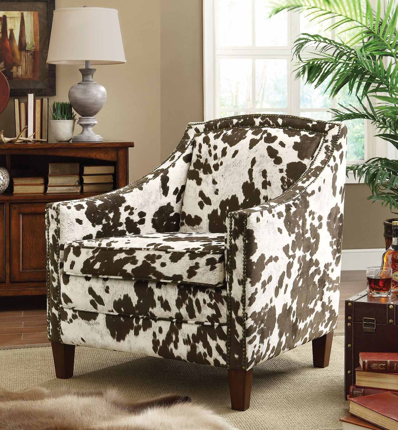 Coaster 902134 Accent Chair - Brown/White Cow Pattern
